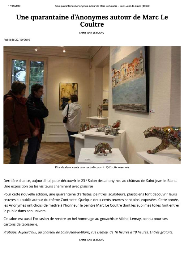 EXPOSITION LES ANONYMES
